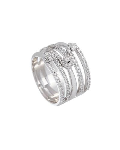 Anima 18k White Gold 5-Row Diamond Ring  Size 7.5