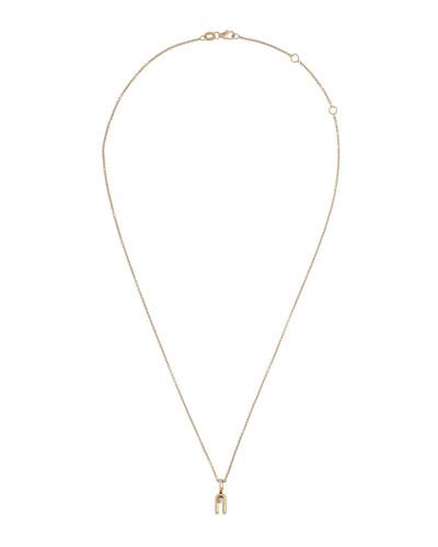 Anima 18k Yellow Gold 2-Prong Diamond Pendant Necklace