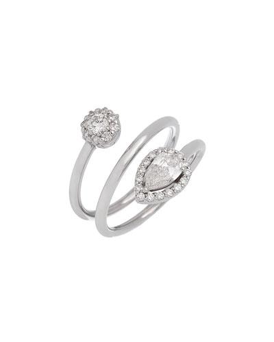 Positano 18k White Gold Coiled Diamond Ring  Size 7