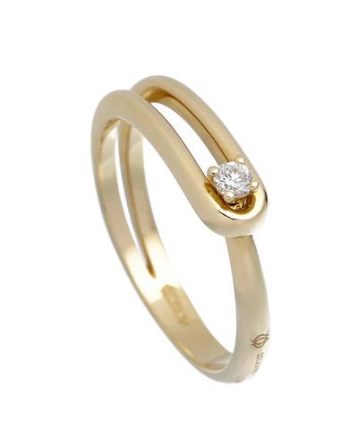 Anima 18k Looped 1-Diamond Ring  Size 5.5