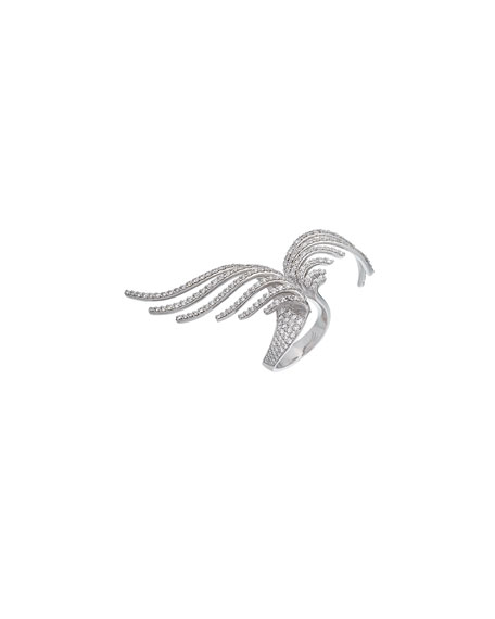 ISTANBOULLI GIOIELLI Volo 18k White Gold Diamond 2-Finger Ring, Size 7