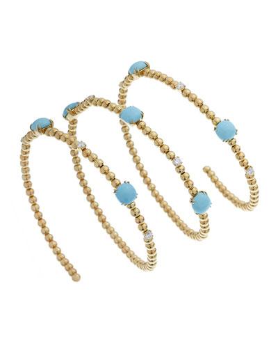 Taormina 18k Diamond & Turquoise Coil Bracelet