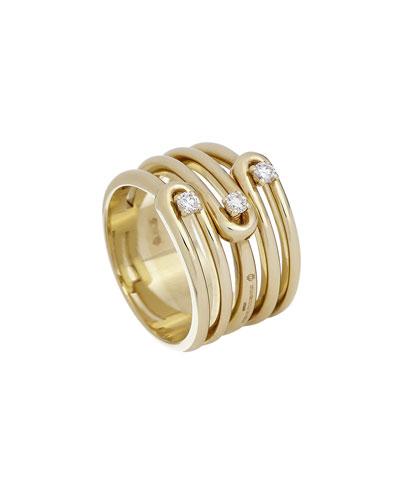 Anima 18k 5-Row Diamond Ring  Size 7.5