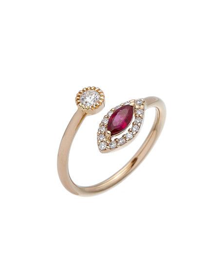 ISTANBOULLI GIOIELLI Positano 18k Diamond & Ruby Bypass Ring, Size 6.25