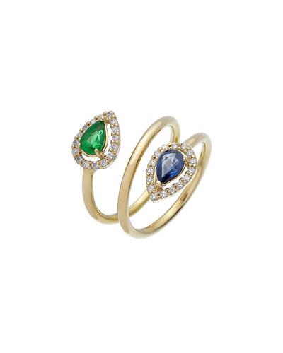 Positano 18k Diamond  Emerald & Sapphire Coil Ring  Size 6