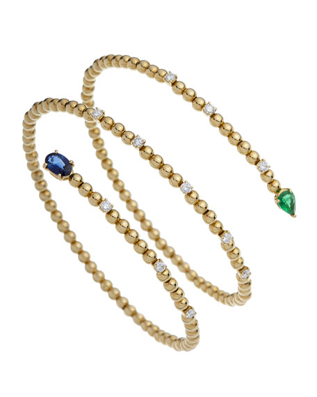 ISTANBOULLI GIOIELLI Taormina 18k Diamond, Sapphire & Emerald Coil Bracelet