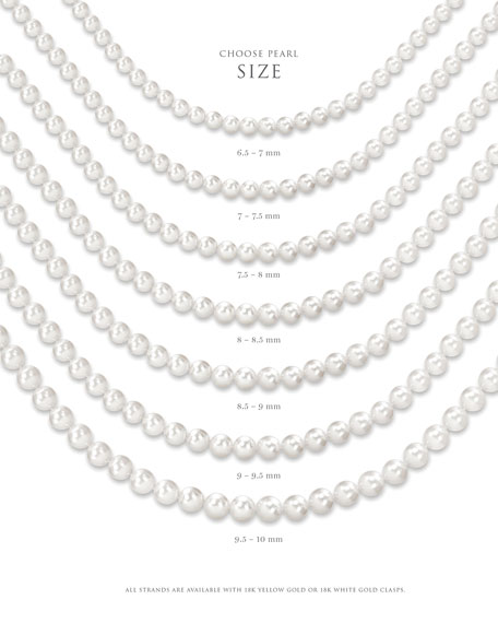 "Assael Akoya 32"" Akoya Cultured 8mm Pearl Necklace with Yellow Gold Clasp"