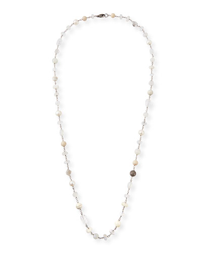 Long Pearl & Stone Necklace  44L