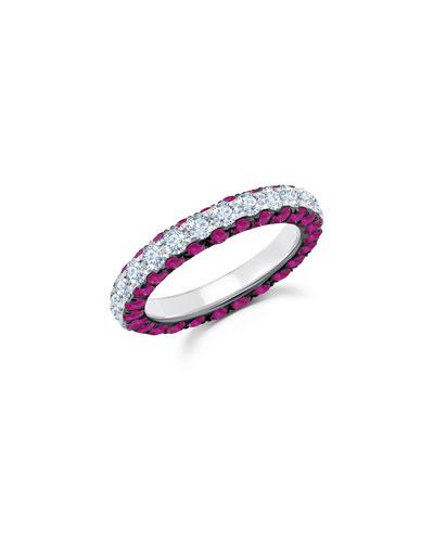 18k White Gold Ruby & Diamond 3-Sided Ring  Size 7