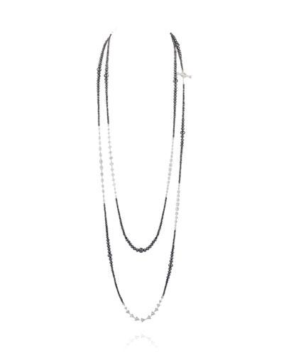18k White Gold Extra-Long Mixed Diamond Necklace