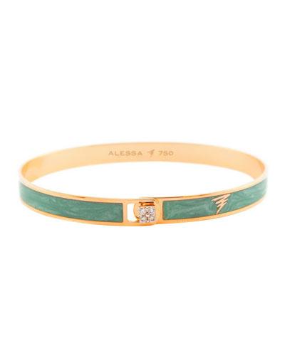 Spectrum 18k Rose Gold Paint & Diamond Bangle  Green  Size 18