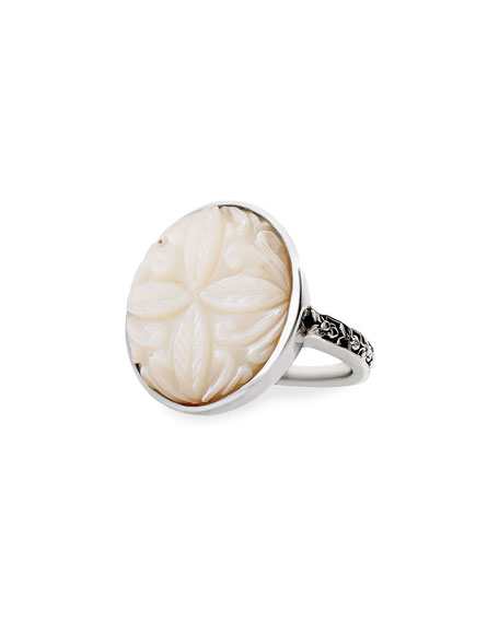 Stephen Dweck Carved Mother-of-Pearl Ring, Size 8