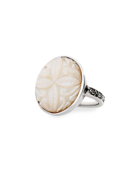 Stephen Dweck Carved Mother-of-Pearl Ring, Size 9