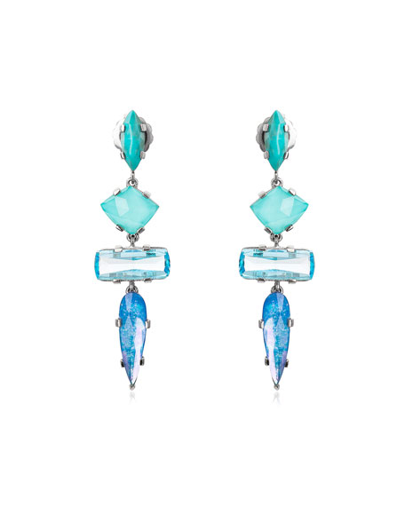 Image 1 of 2: Long 4-Drop Stone Earrings, Turquoise