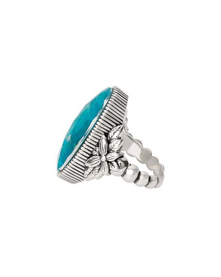 Stephen Dweck Long Oval Stone Ring, Chrysocolla, Size 7