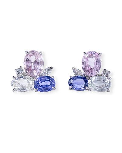 Platinum Mixed Sapphire & Diamond Cluster Earrings