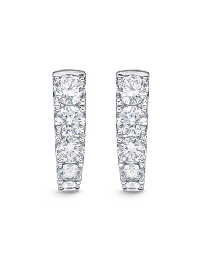 18k White Gold Graduated Diamond Huggie Earrings
