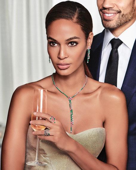 Gismondi 1754 18k Rose Gold Multi-Row Emerald & Pink Sapphire Pear Ring