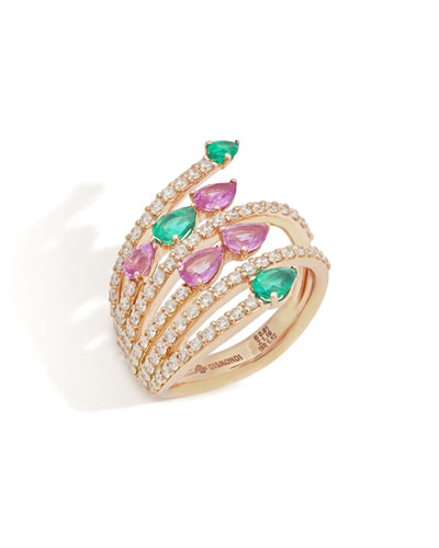 18k Rose Gold Multi-Row Emerald & Pink Sapphire Pear Ring