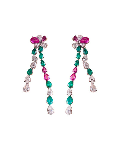 18k White Gold Emerald  Pink Sapphire & Diamond Earrings