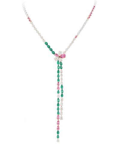 18k White gold Emerald  Pink Sapphire & Diamond Y-Drop Necklace