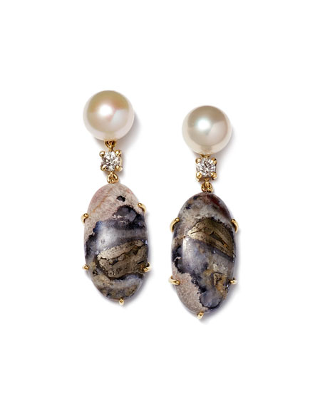 Jan Leslie 18K Bespoke Tribal Luxury 2-Tier Earring with Pearl, Celestrobarite, and Diamond