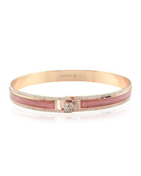Alessa Jewelry Spectrum Painted 18k Rose Gold Bangle w/ Diamonds, Pink, Size 17