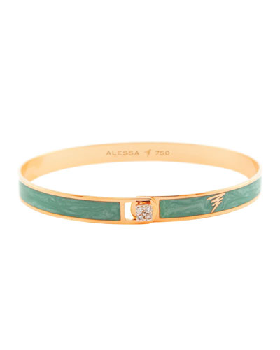 Spectrum 18k Rose Gold Paint & Diamond Bangle  Green  Size 17