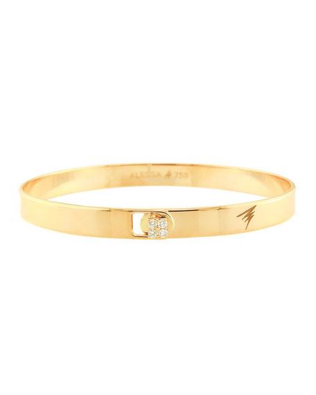 Alessa Jewelry Spectrum 18k Yellow Gold Bangle w/ Diamond Clasp, Size 18