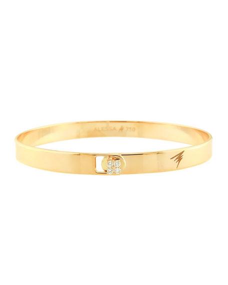 Alessa Jewelry Spectrum 18k Yellow Gold Bangle w/ Diamond Clasp, Size 17