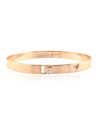 Spectrum 18k Rose Gold Bangle w/ Diamond Clasp  Size 16