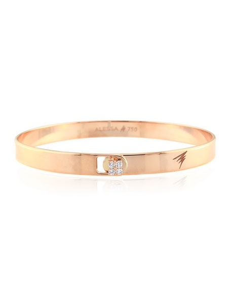 Alessa Jewelry Spectrum 18k Rose Gold Bangle w/ Diamond Clasp, Size 16