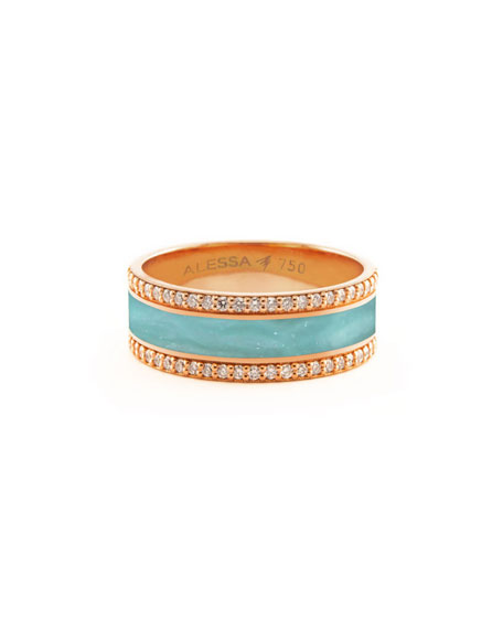 Alessa Jewelry Spectrum Painted 18k Rose Gold Ring w/ Diamond Trim, Teal, Size 7.5