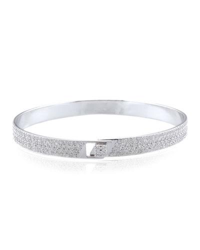 Spectrum 18k White Gold Bangle w/ Pave Diamonds  Size 18