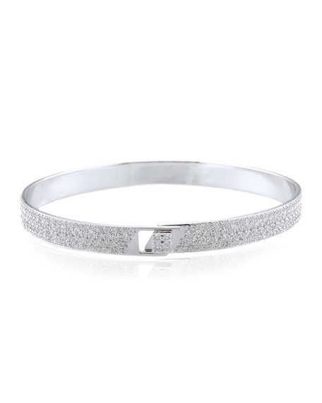 Alessa Jewelry Spectrum 18k White Gold Bangle w/ Pave Diamonds, Size 18