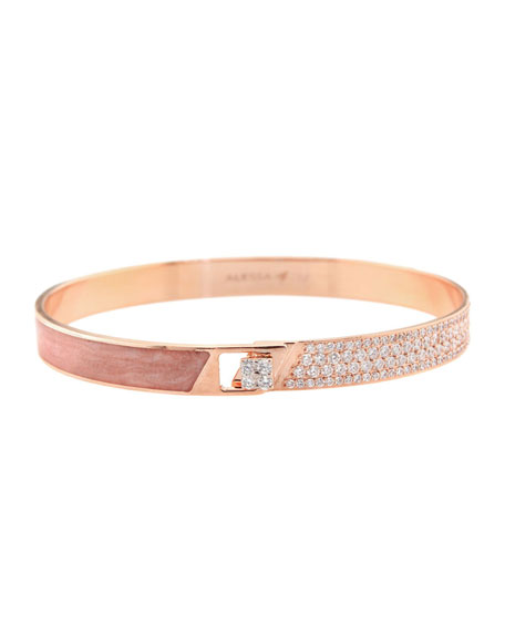 Alessa Jewelry Spectrum 18k Rose Gold Painted Bangle w/ Diamonds, Pink, Size 17