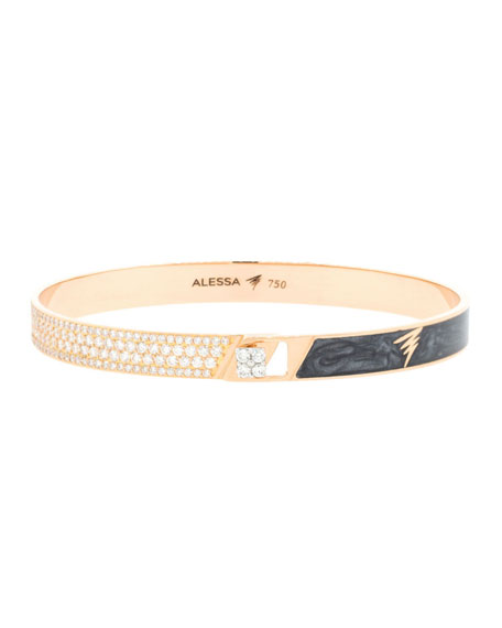 Alessa Jewelry Spectrum 18k Rose Gold Painted Bangle w/ Diamonds, Black, Size 18