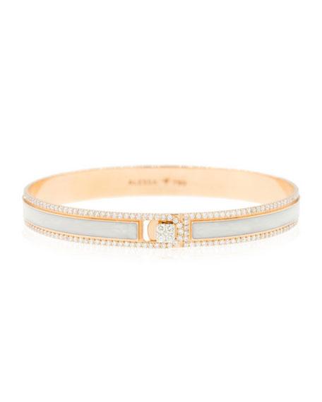 Alessa Jewelry Spectrum Painted 18k Rose Gold Bangle w/ Diamonds,White, Size 16