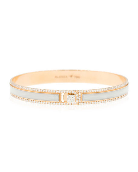 Alessa Jewelry Spectrum Painted 18k Rose Gold Bangle w/ Diamonds,White, Size 17