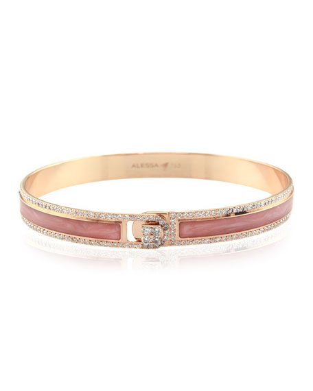 Alessa Jewelry Spectrum Painted 18k Rose Gold Bangle w/ Diamonds, Pink, Size 17