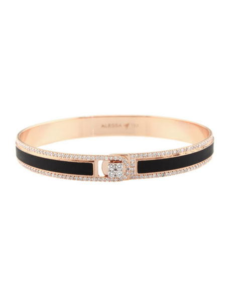 Alessa Jewelry Spectrum Painted 18k Rose Gold Bangle w/ Diamonds, Black, Size 17