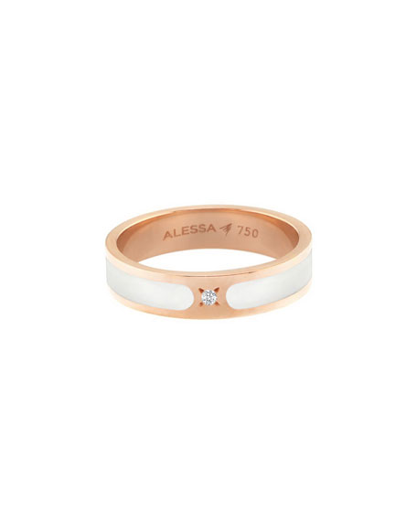 Alessa Jewelry Spectrum Painted 18k Rose Gold Stack Ring w/ Diamond, White, Size 8