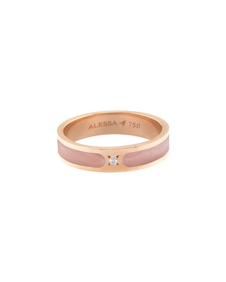 Alessa Jewelry Spectrum Painted 18k Rose Gold Stack Ring w/ Diamond, Pink, Size 9