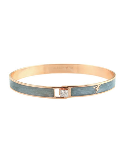 Spectrum 18k Rose Gold Paint & Diamond Bangle  Gray  Size 17