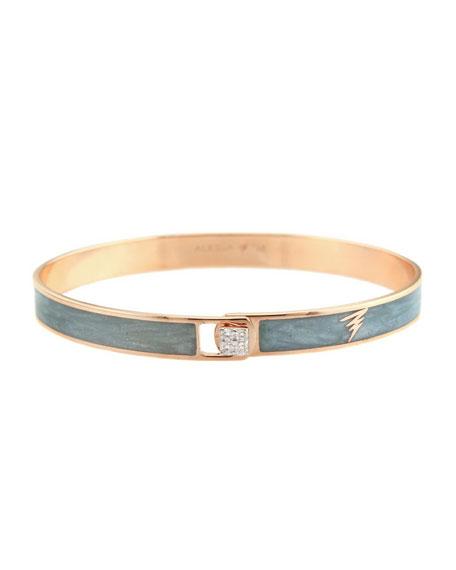 Alessa Jewelry Spectrum 18k Rose Gold Paint & Diamond Bangle, Gray, Size 17