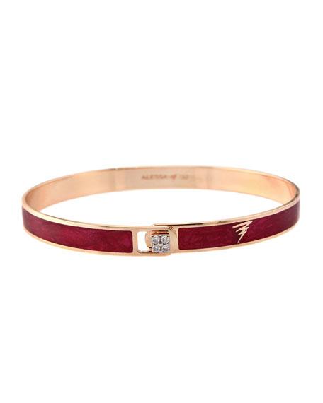 Alessa Jewelry Spectrum 18k Rose Gold Paint & Diamond Bangle, Red, Size 18