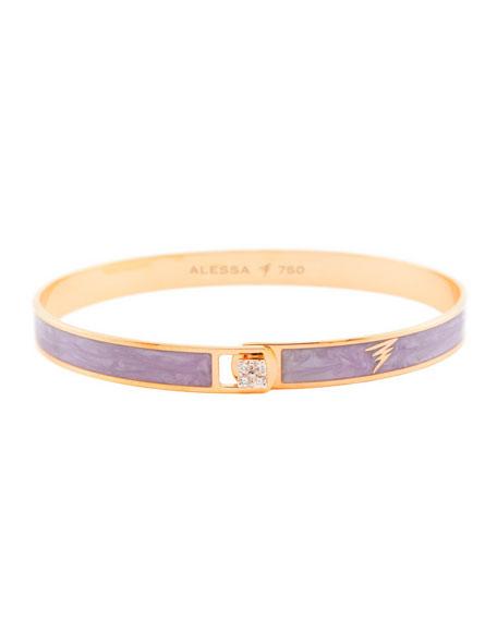 Alessa Jewelry Spectrum 18k Rose Gold Paint & Diamond Bangle, Light Purple, Size 18