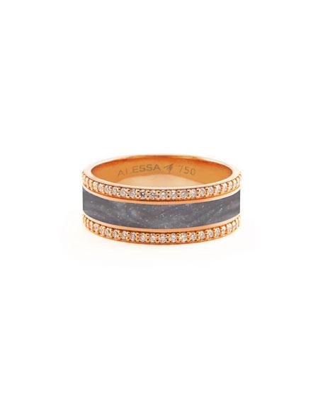 Alessa Jewelry Spectrum Painted 18k Rose Gold Ring w/ Diamond Trim, Gray, Size 8.5