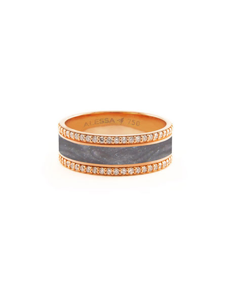 Alessa Jewelry Spectrum Painted 18k Rose Gold Ring w/ Diamond Trim, Gray, Size 7.5