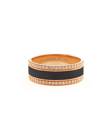 Alessa Jewelry Spectrum Painted 18k Rose Gold Ring w/ Diamond Trim, Black, Size 8.5